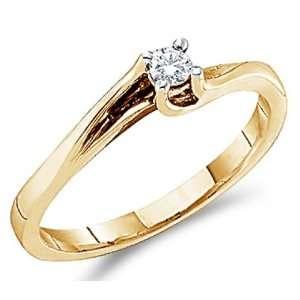 Solitaire Diamond Engagement Ring Round 14k Yellow Gold (0.09 Carat