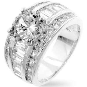 White Gold Rhodium Classic Anniversary Ring with 2 Carat Centerpiece