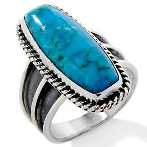Canyon Southwest Turquoise Sterling Silver Rectangular Ring
