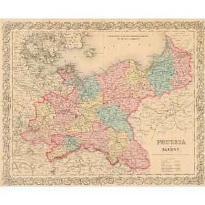 Colton 1855 Antique Map of Prussia