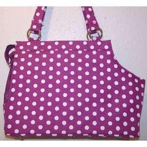 Open Top Polka Dots Pet Carrier   Lavender & White