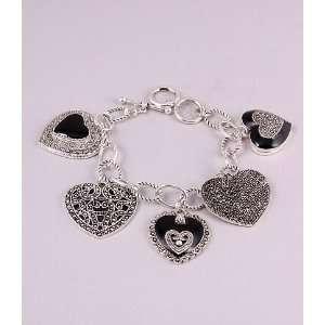 Fashion Jewelry Charm Bracelet with Hart Pattern Silver
