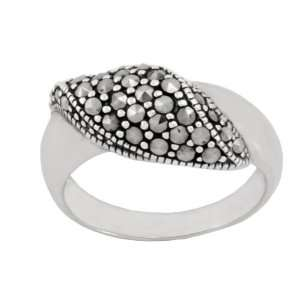 Sterling Silver Marcasite Wavy Band Ring, Size 5 Jewelry