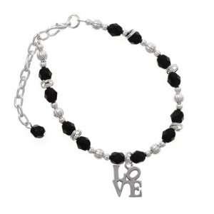 in Square Black Czech Glass Beaded Charm Bracelet [Jewelry] Jewelry
