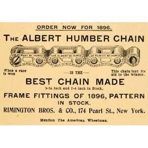Ad Albert Humber Chain Rimington Bicycle Frame Fittings Metal Bike