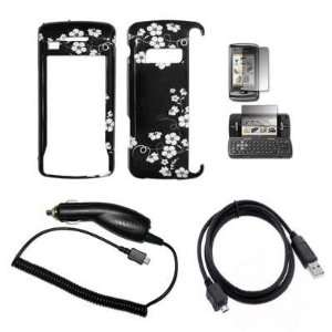 Black and White Midnight Flowers Design Snap On Cover Hard