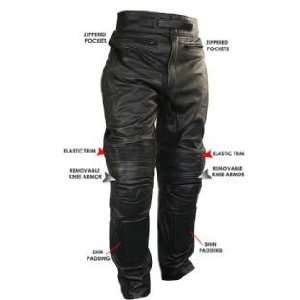 Mens Armored Cowhide Leather Racing Pants Sz 32