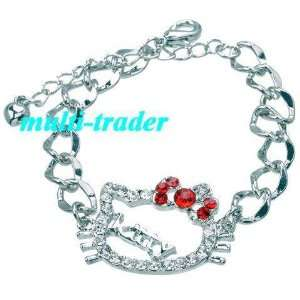 Hello Kitty red BOW Pendant Silver Link Bracelet