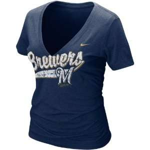 Nike Milwaukee Brewers Ladies Navy Blue Relay V neck Tri