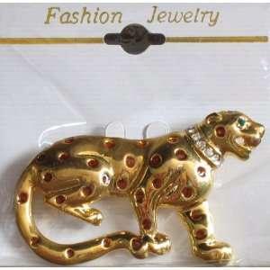 Fashion BROOCH PIN LEOPARD Gold Tone & Enamel PIN w