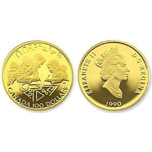 1990 Canadian Gold Proof $100 International Literacy Year