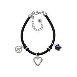 Small Purple Paw Black Peace Love Charm Bracelet Arts