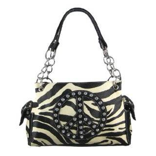 Zebra Print Peace Sign Studded Handbag Hot Pink Trim: Clothing