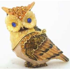 Owl Crystal Studded Jewelry Trinket Box