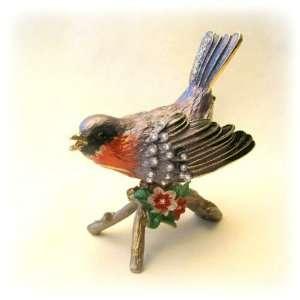 Blue Bird Trinket Box Set with Swarovski Crystals, Periwinkle Ring Box
