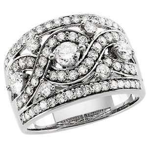14 Karat White Gold Diamond Anniversary Band Ring Diamond