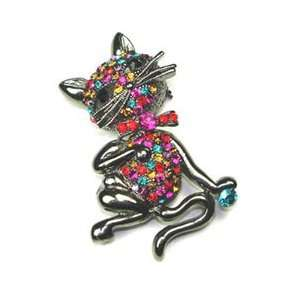Multi Color Rhinestone Kitty Cat Brooch Pin Jewelry