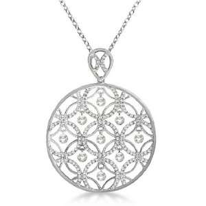 Drilled Set Diamond Circle Pendant Necklace 14k White Gold