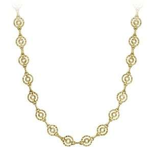 Plated Sterling Silver Diamond Cut Circle Link Necklace, 18 Jewelry