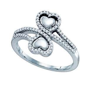 1/4 Carat Diamond 10k White Gold Heart Pave Ring