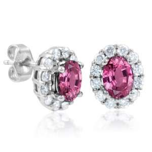 Pink Sapphire and Diamond Earrings in 14k White Gold (G, SI2, 2