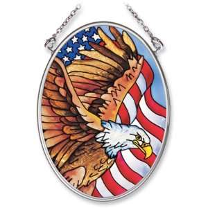 Amia Hand Painted Glass Suncatcher with Eagle and United States Flag