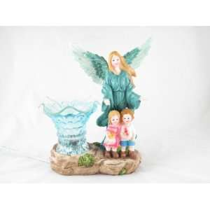 Blue Guardian Angel With Children Electric Oil