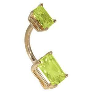 Double Emerald Cut Peridot Solid 14K Yellow Gold Belly Ring   (August