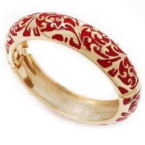 Gold Plated Red Enamel Swirl Patten Hinged Bangle Bracelet