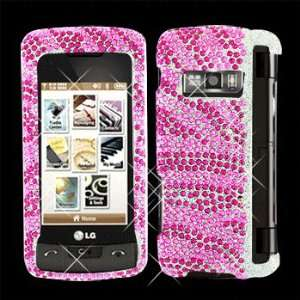 Premium   LG VX11000/enV Touch Full Diamond Hot Pink/Pink Zebra Cover