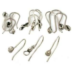 Sterling Silver Bali Bead Fish Hook Earrings Approx 12