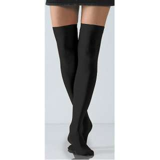 com Black Solid Opaque Thigh High Stockings by Foot Traffic Clothing