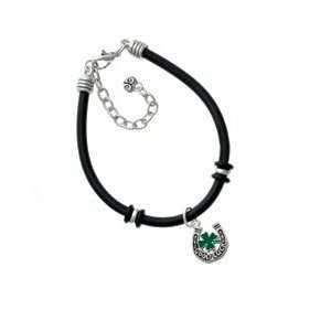 Horseshoe with Green Four Leaf Clover Black Charm Bracelet [Jewelry