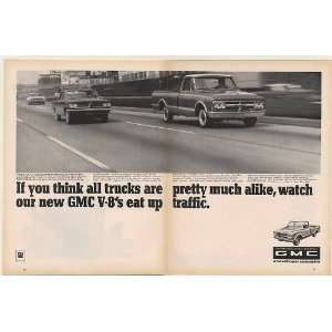 1967 GMC V 8 Pickup Truck Eat Up Traffic Double Page Print