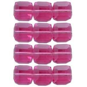 12 Rose Swarovski Crystal Cube Square Beads 5601 4mm