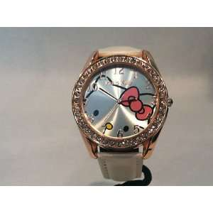 HTF Gold Colored Hello Kitty Watch w/White Leather Strap