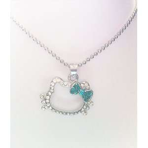 Hello Kitty Rhinestone Silhouette Necklace with Greenish/Aqua Bow