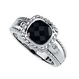 Attractive Checkerboard Onyx Ring   Braided 14 kt White Gold Band With