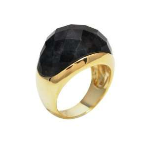 Gold Plated Sterling Silver Charcoal Jade Dome Ring, Size