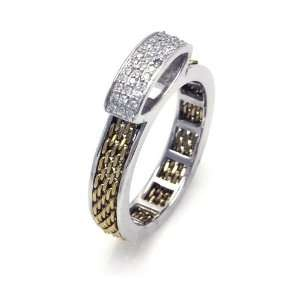 Sterling Silver Chain Gold Plated CZ Ring Size 5 Jewelry