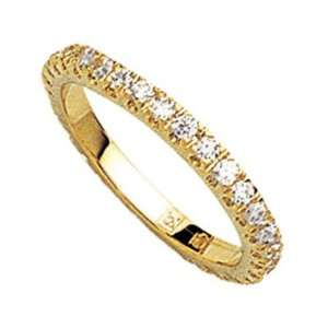 18K Gold Plated Clear Cubic Zirconia Eternity Wedding Band Ring   Size