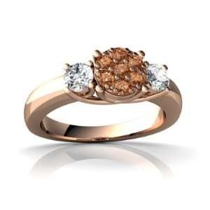 14k Rose Gold Cognac Diamond Trellis Ring Size 5.5