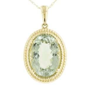 10k Yellow Gold Green Amethyst Pendant, 18 Jewelry