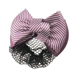 Ladies Red Color Stripe Bowtie Decor Black Hair Net Hair Clip Beauty