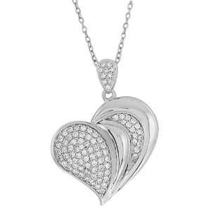 Sterling Silver Cubic Zirconia Heart Shape Pendant 18 Jewelry