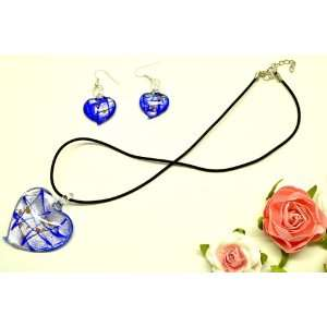 Royal Blue Heart Shaped Glass Pendant with Leather Necklace