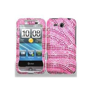 HTC Freestyle Full Diamond Graphic Case   Hot Pink/Pink Zebra