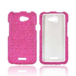 HTC One X Hot Pink Hard Bling Snap on Shell Case Cover Cell Phones