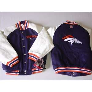 Broncos NFL Youth/Kids Pleather/Wool Varsity Jacket Sports & Outdoors