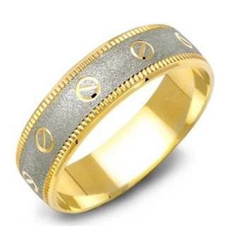 14K Two Tone Contemporary Gold Mens Wedding Band Ring